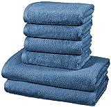 Amazon Basics - Juego de 6 toallas de secado rápido, 2 toallas de baño y 4 toallas de mano - Azulón