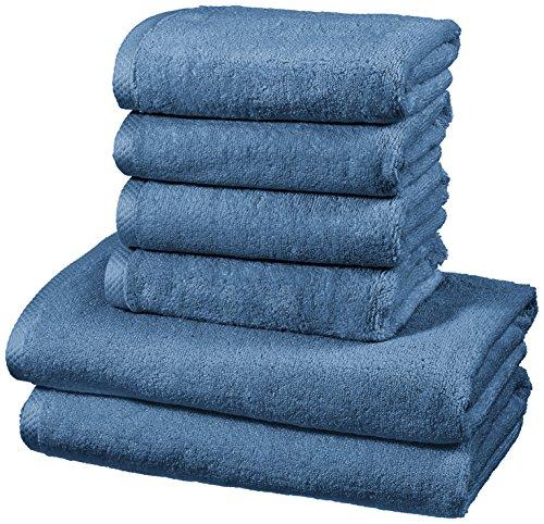AmazonBasics - Handtuch-Set, schnelltrocknend, 2 Badetücher und 4 Handtücher - Seeblau, 100% Baumwolle