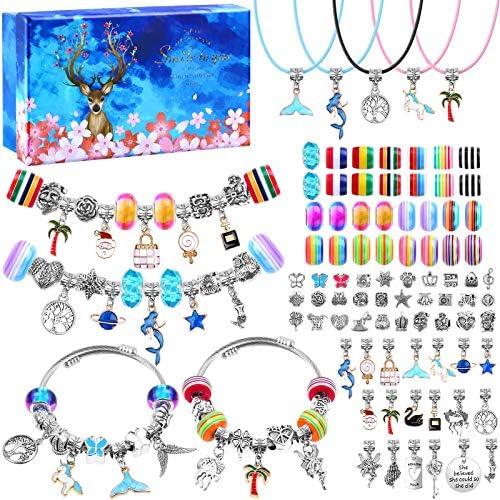 90 Pcs Charms Bracelet Making Kit for Girls Thrilez DIY Charm Bracelets Kit with Jewelry Beads product image