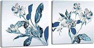 Mon Art Retro Blossom Flower Orchid painting Canvas Print wall art blue leaves white Magnolia floral pictures Pure Fresh Contemporary home decor Framed Artwork for Bathroom living room Decoration 2pcs