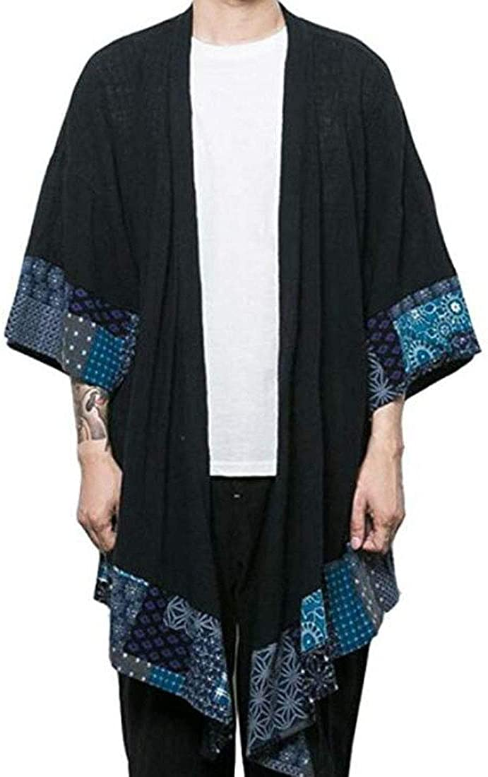 NEW HZCX FASHION Men's Cotton Linen Long Jackets Kimono Open C Front All items in the store