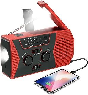 (Upgraded Version) Emergency Solar Hand Crank Radio, NOAA Weather Radio, Self Powered Portable Radio, AM, FM, LED Flashlight, Reading Lamp, 2000mAh Power Bank USB Charger and SOS Alarm