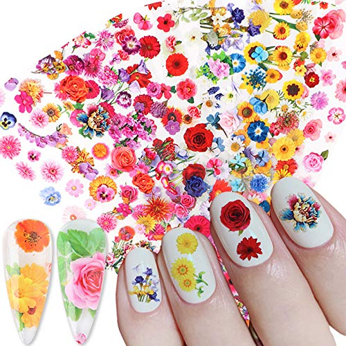 Flower Nail Art Foils Nail Foils Nail Art Glue Transfer Nail Stickers for Acrylic Nails 10 Sheets Beautiful Colorful Dried Flowers Women Kids Nail Decorations Kits Manicure Tips Desinger Nail Decals