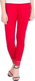 American-Elm Women's Ankle length Cotton Viscose Legging- Red