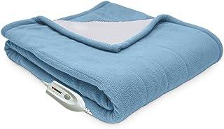 Serta   Reversible Sherpa/Fleece Heated Electric Throw Blanket, Standard, (Slate)