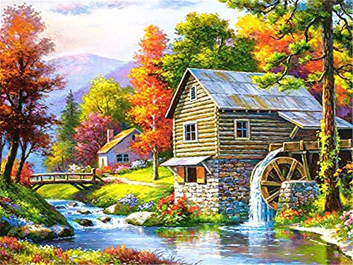 5D DIY Diamond Painting by Number Kit Late Autumn Chalet Square Drill,120x90cm Adults and Kids Full Drill Beads Crystal Rhinestone Embroidery Cross Stitch Supplies Arts Craft for Home Wall Decor U3528