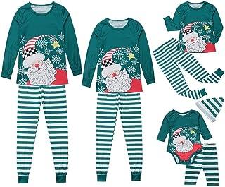 Weixinbuy Women Men Kids Baby Pajamas Set Sleepwear Santa Claus Pattern Stripe Pants Trouser Christmas Family Matching Pjs Set