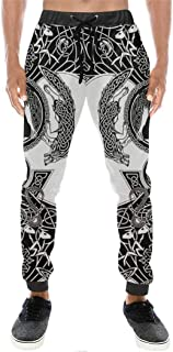 Jerinumkoy Wikinger White Raven Tattoo 3D Druckhose, Männer Frauen Harajuku Mode Hose, Herbst Casual Joggers Hosen