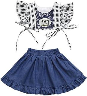 60e24156c4 Pollyhb Baby Girls Denim Skirt Set, 2Pcs Toddler Baby Kids Girls Cow Print  Tops+