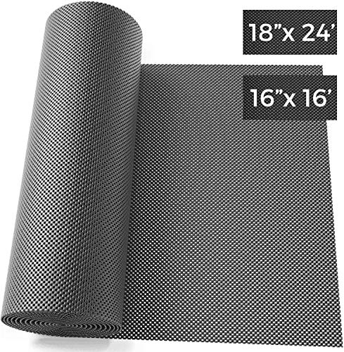 Olsa Tools Tool Box Liner, Drawer Liner and Shelf Liner Black 18 Inch x 24 Feet x 1/8' Thick | Premium Non Adhesive Non-Slip Perforated Surface Tool Chest Mat | Perfect Organization for Wire Shelves