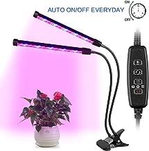 Luz de Planta AGM, Lámpara Planta Hidropónicas LED 24W 12LED Espectro Completo Crece Lluminación de Plantas, 3 Modos de temporizador 4/8 / 12H, 4 Niveles Regulables con Cuello de Ganso 360° Ajustable