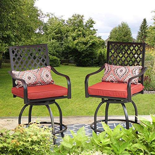 Outdoor Patio Swivel Bar Stool Chairs with Cushion