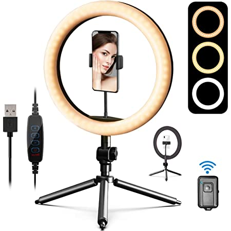"""10"""" LED Ring Light, Daugee Selfie Circle Light with Tripod Stand & Phone Holder & Camera Remote Shutter for Live Streaming YouTube Tiktok Video, Dimmable Desk Makeup Ring Light for Photography"""