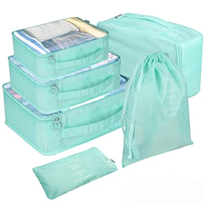 6 Set Packing Cubes for Travel, Mesh Compressio...