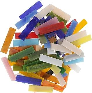 Jili Online 70 Pieces Rectangle Shape Assorted Colors Glass Pieces Mosaic Tiles Tessera for Arts DIY Craft 10x40mm