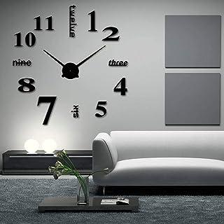 ساعة حائط كبيرة ثلاثية الابعاد بتصميم عصري بدون اطار يمكنك تركيبها بنفسك لتزيين المنزل وغرفة المعيشة وغرفة النوم بلون اسود...