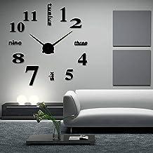 ساعات حائط ثلاثية الأبعاد عصرية بدون إطار كبيرة ثلاثية الأبعاد DIY ساعات ديكور منزلية لغرفة المعيشة وغرفة النوم (أسود)