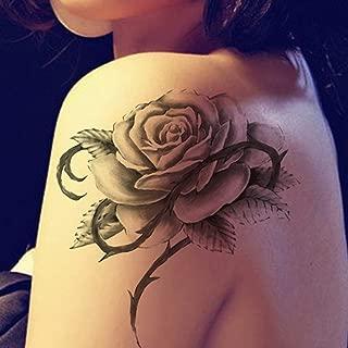 YSYYSH Pegatinas de Tatuaje de Hombro a Prueba de Agua Rosa Negra ...