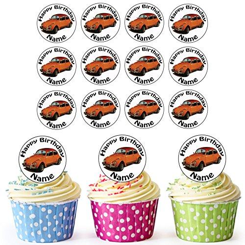 Oldtimer VW Käfer Orange 24 Personalisierte Vorgeschnittene Kreise - Essbare Cupcake Aufleger / Geburtstagskuchen Dekorationen