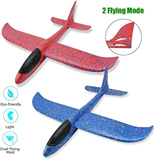 "2pcs Foam Airplane Toy, 16.5"" Large Throwing Glider Plane with Dual Flight Mode for Kids Outdoor Sports Garden Yard Playing"