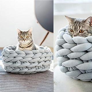ACHICOO ペットベッド ペットハウス ニットペットネスト 手織りのケネル 洗濯可能 厚い 犬用 猫用 グレー