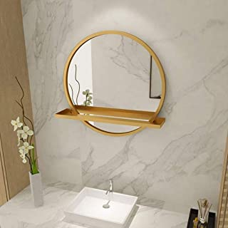 XZPENG Round Large Makeup Mirror with Shelf Waterproof Metal Frame Modern Living Room and Bedroom (Color : Gold, Size : 60cm)