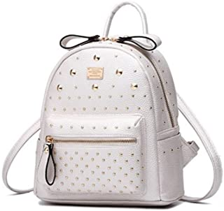 Fashion Studded Leather Backpack for Women Cute Mini Backpack for Girls Casual Daypack