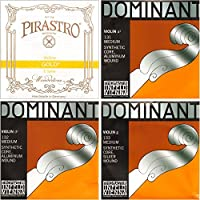 JSIスペシャル4/4バイオリン弦セット:ゴールドラベルループエンドE&ドミナントA、D、およびG弦 - ミディアムゲージ