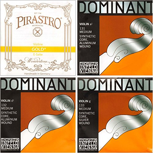 JSI Special 4/4 Violin String Set: Gold Label Loop-End E & Dominant A, D, and G Strings - Medium Gauge