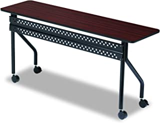 Iceberg 68068 Officeworks Mobile Training Table with Wheels, Mahogany/Black, 72