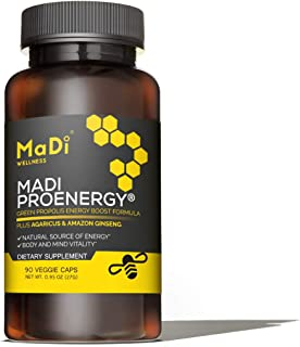 Madi Proenergy - Green Bee Propolis Extract, Agaricus Mushroom Extract, Amazon Ginseng - Natural Energy, Immune Booster an...