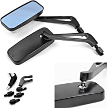 Devilmotor Black Rectangle Motorcycle Bobber Mirrors for Cruiser Chopper with Smoke Blue 8mm-10mm (Black)