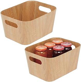 mDesign rangement cuisine à poignées (lot de 2) – petite boîte de rangement pour fruits et légumes en carton, pour placard...