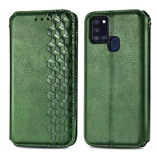 Trugox Funda Cartera para Samsung A21S de Piel con Tapa Tarjetero Soporte Plegable Antigolpes Cover Case Carcasa Cuero para Samsung Galaxy A21S - LOSDA12A0229 Verde