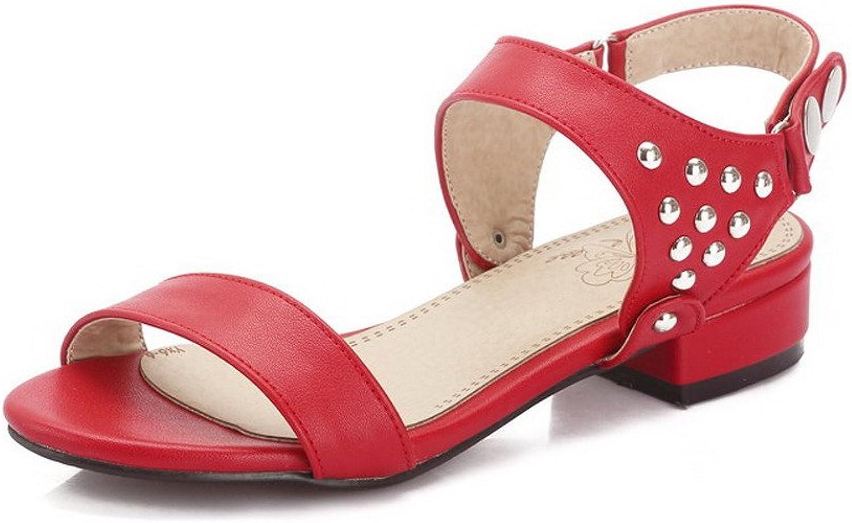WeenFashion Women's Buckle Open Toe Low-Heels PU Solid Sandals