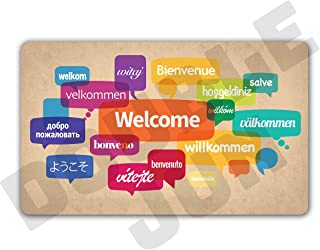 DoubleJun Funny Welcome in Different Languages Entrance Mat Floor Rug Indoor/Front Door Mats Home Decor Machine Washable Rubber Non Slip Backing 29.5