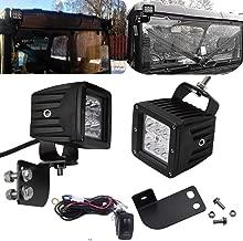 3 inch 18W LED Spot Light Cubes & Rocker Switch Wiring Kit w/Rear Upper Pillar Mounting Brackets Fits Polaris Ranger Full Size 2013-Up