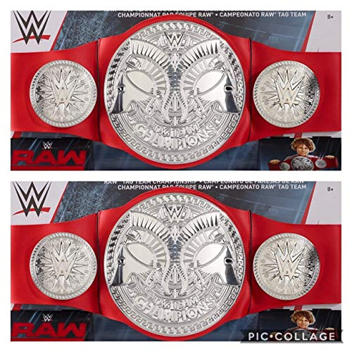 Wrestling Set of 2 WWE Mattel Raw Red Tag Team Championship Replica Toy Kids Title Belts