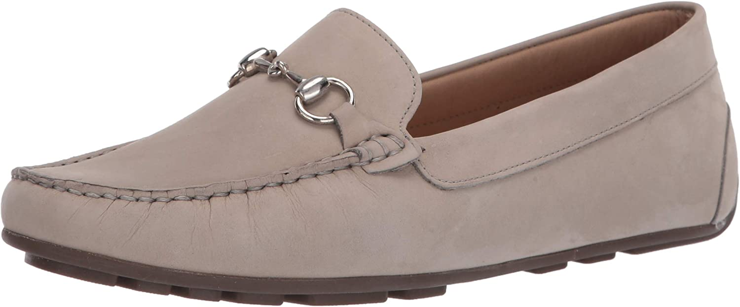 Driver Club USA Women's Leather Made in Brazil Luxury Driving Loafer with Bit Buckle, Grey Nubuck/Natural Sole, 7.5 M US