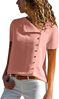 Women Short Sleeve Casual Lapel Neck T-shirt Tops ❀ Ladies Solid Fashion Buckle Blouse Tops Plus Size Tee Shirt Top