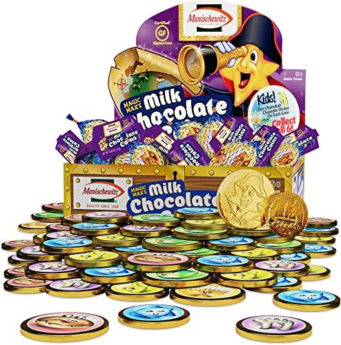 Hanukkah Gelt, Manischewitz Milk Chocolate Gold Coins, Box of 24 Mesh Bags Filled with Individually Wrapped Magic Max Hanukkah Gelt Coins, Gluten Free
