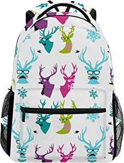Snowflakes Moose Christmas Ornament Trekking Backpack Fashion Backpack Oversized Backpack Men and Women Durable Travel Computer Backpack 17 Inch Notebook Waterproof Large Business Bag