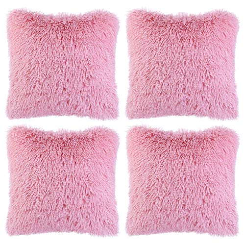 Aneco Pack of 4 18 x 18 Inches Faux Fur Throw Pillow Covers Decorative Square Pillow Covers Faux Fur Cushion Covers for Home Decoration, Pink