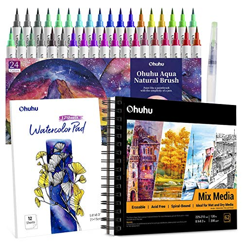 Professional Watercolor Brush Markers Pens Set, Ohuhu 36 Colors Water-based Paint Marker with 12-Sheet Watercolor Pad & A Blending Aqua Brush+ 8.9'×8.3' Mixed Media Art Sketchbook