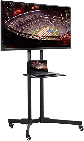 Yaheetech 32 To 70 Inch Mobile TV Cart Universal Flat Screen Rolling TV Stand Trolley Console Stand With Mount For LED LCD Plasma Flat Panels On Wheels