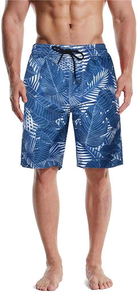 DIOMOR Mens Blue Floral Swim Trunks with Pockets Fashion at The Knee Drawstring Beach Shorts Quick Dry Bathing Suit