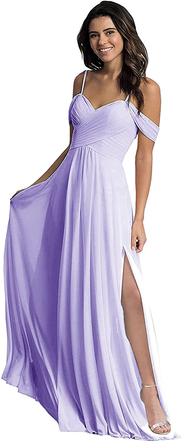 N.L.B Large-scale sale Off The Shoulder Bridesmaid Chiffon Slit with Dresses Long Our shop OFFers the best service