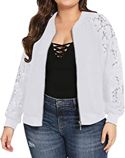 JESPER Womens Casual Jacket Plus Size Short Bomber Coat Lace Sleeves Lightweight Zip Up Quilted Outerwear