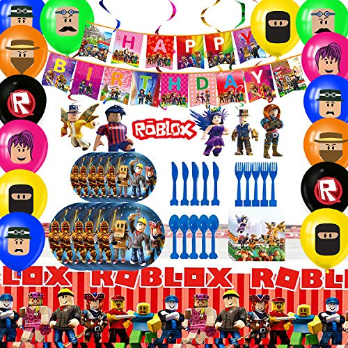 Dream Baby Robot Blocks Birthday Party Supplies Set, For Boys Ro-Blox Theme Party Decoration, Birthday Decor includes Happy Birthday Banner, Tablecover, Plates, Forks, Spoons, Knives, Napkins, Hanging swirl, Balloons