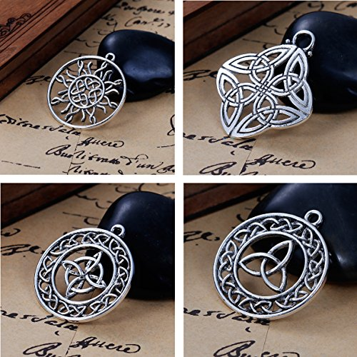 Celtic Knot Charms, 20 pc (5 of Each) Silver Tone Pendants, Large Over 1 1/4 Inch